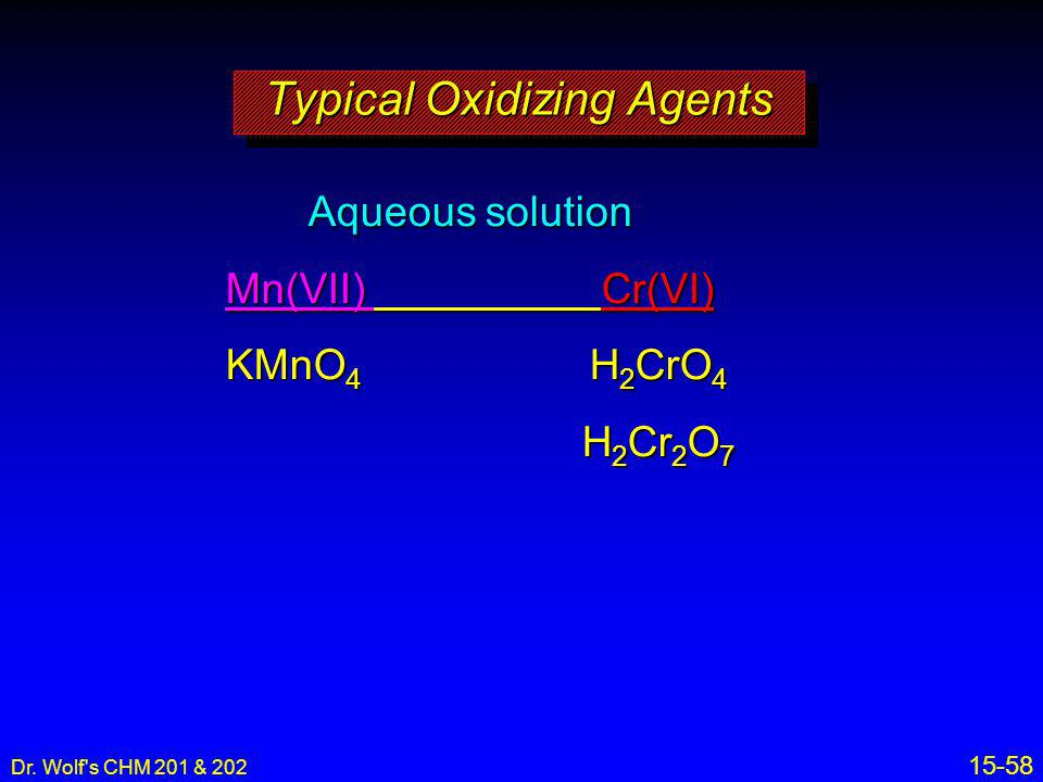 Typical Oxidizing Agents