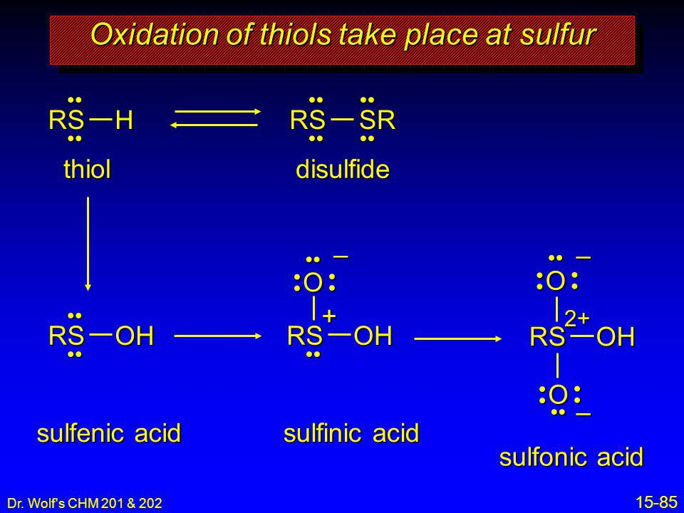Oxidation of thiols take place at sulfur