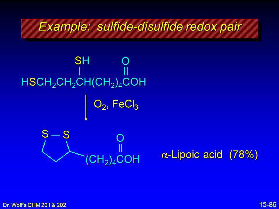 Example: sulfide-disulfide redox pair