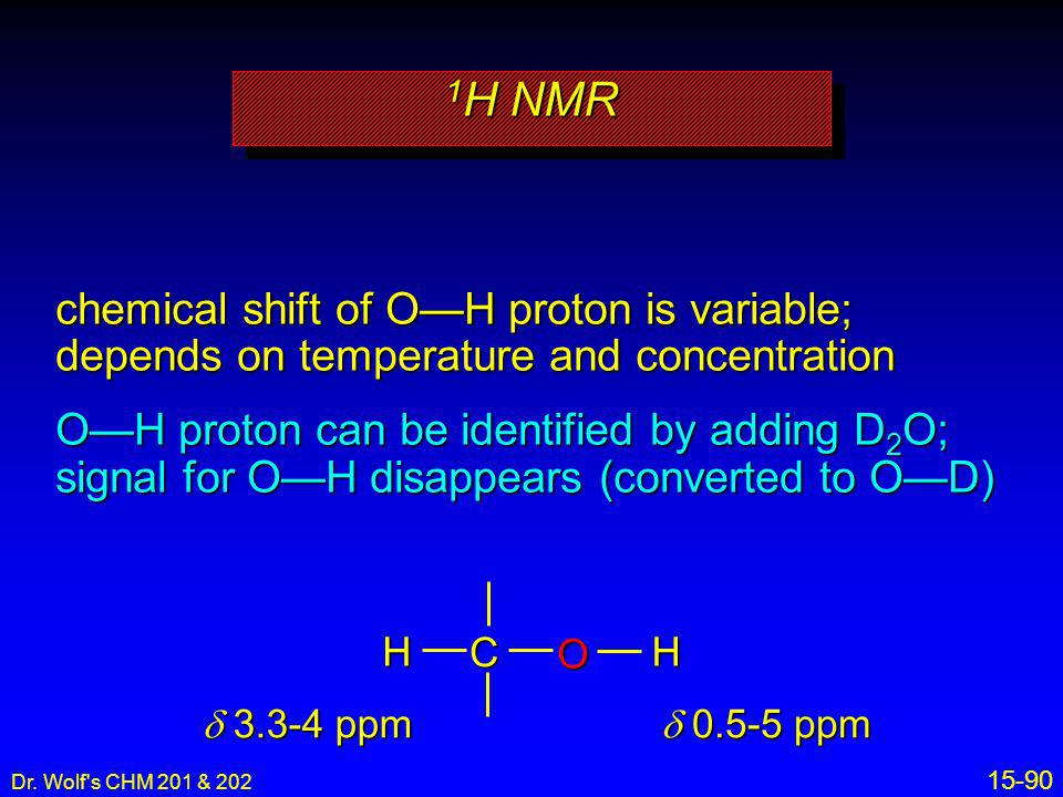 1H NMR chemical shift of O—H proton is variable; depends on temperature and concentration.