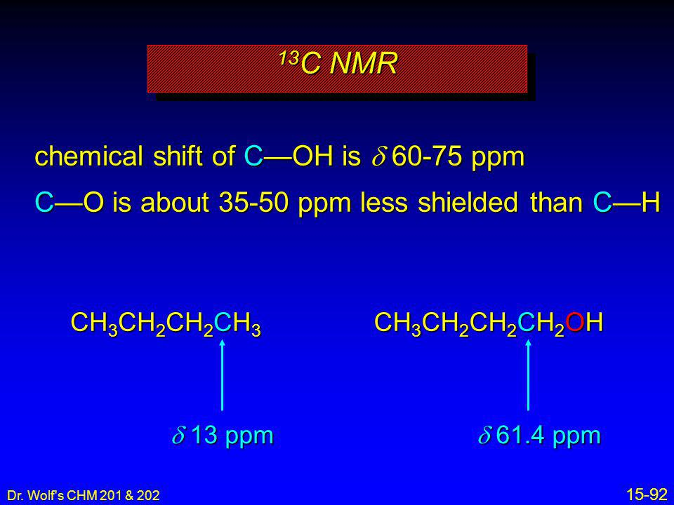 13C NMR chemical shift of C—OH is d 60-75 ppm