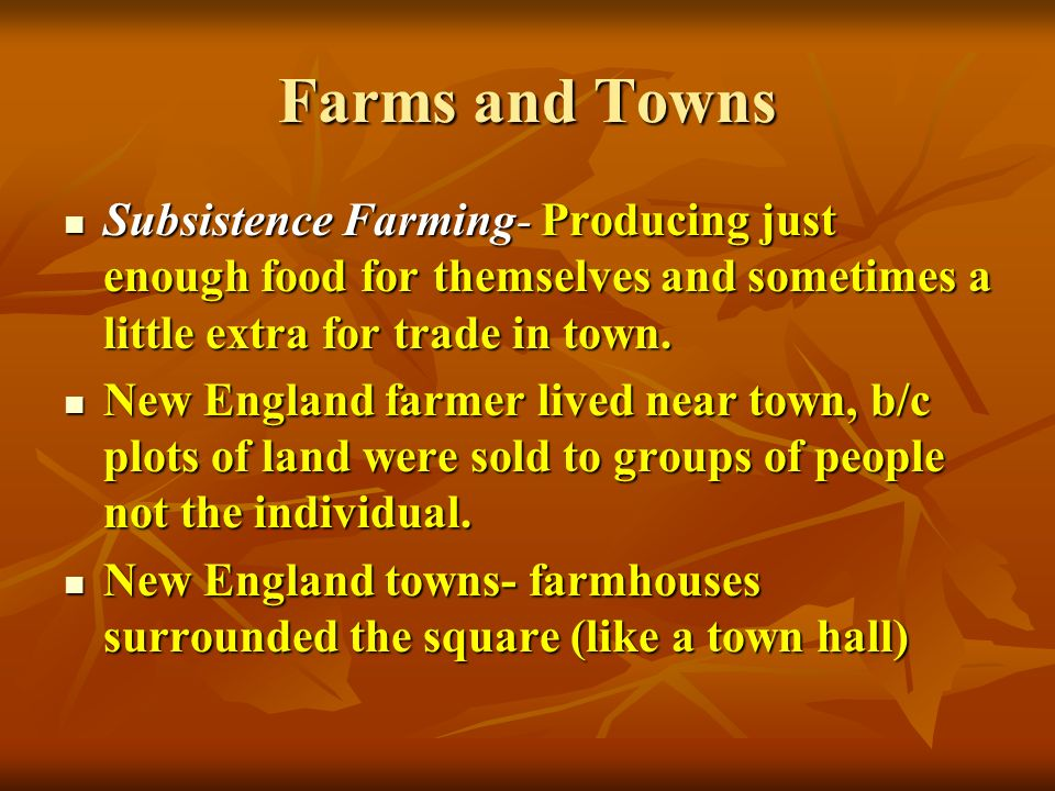Farms and Towns Subsistence Farming- Producing just enough food for themselves and sometimes a little extra for trade in town.