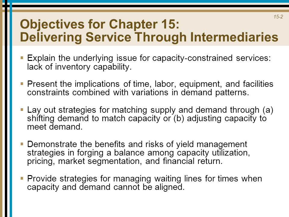 Objectives for Chapter 15: Delivering Service Through Intermediaries