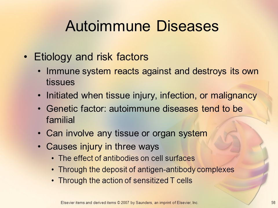 Autoimmune Diseases Etiology and risk factors
