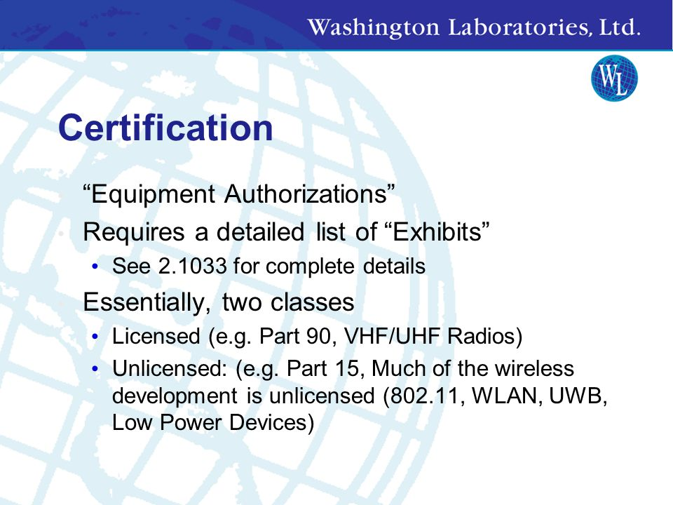 Certification Equipment Authorizations
