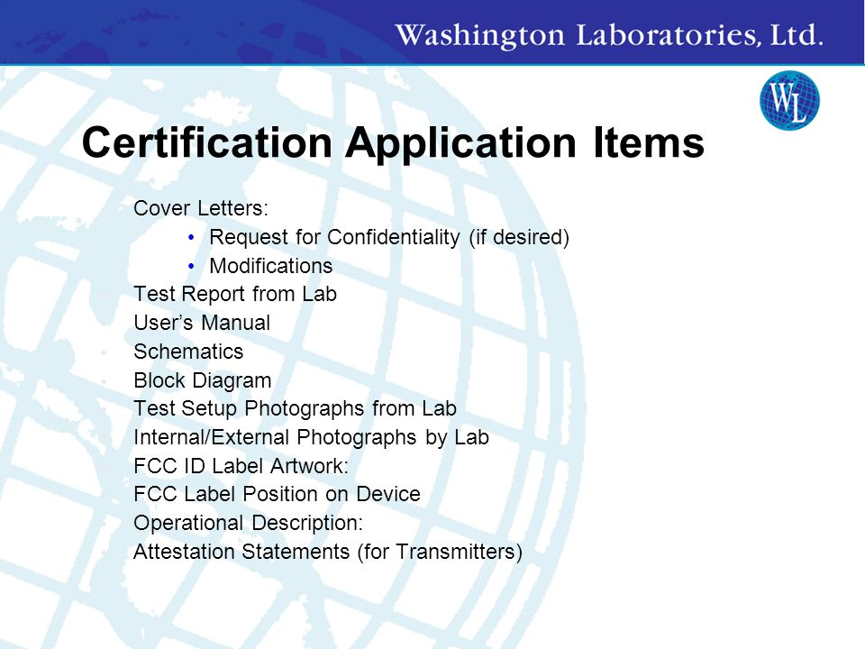 Certification Application Items
