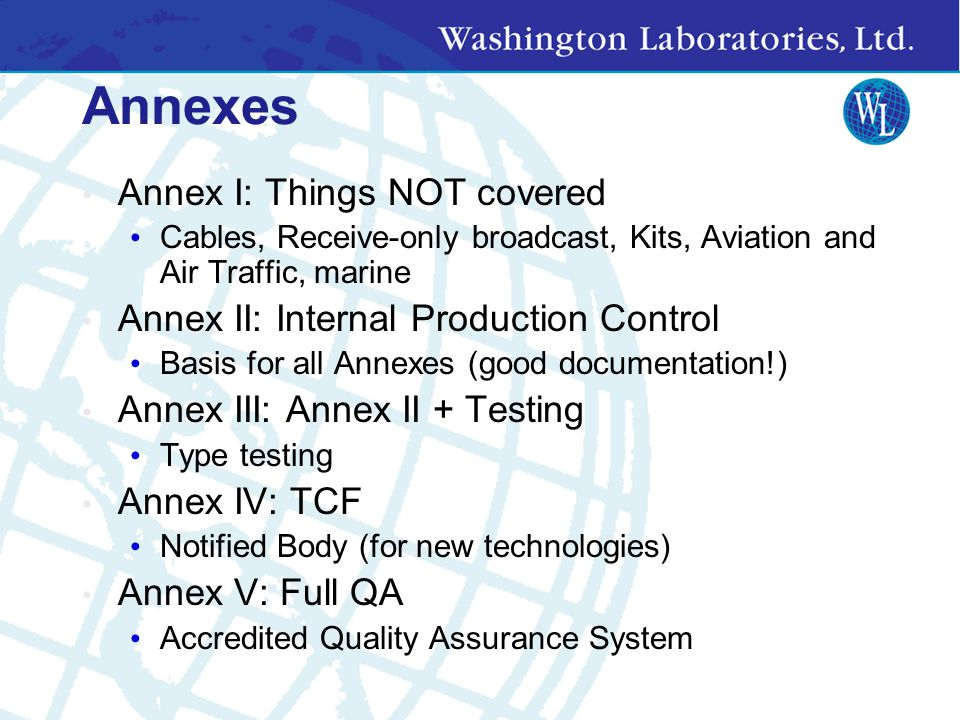 Annexes Annex I: Things NOT covered