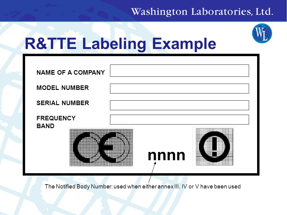 R&TTE Labeling Example