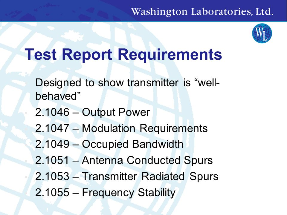 Test Report Requirements