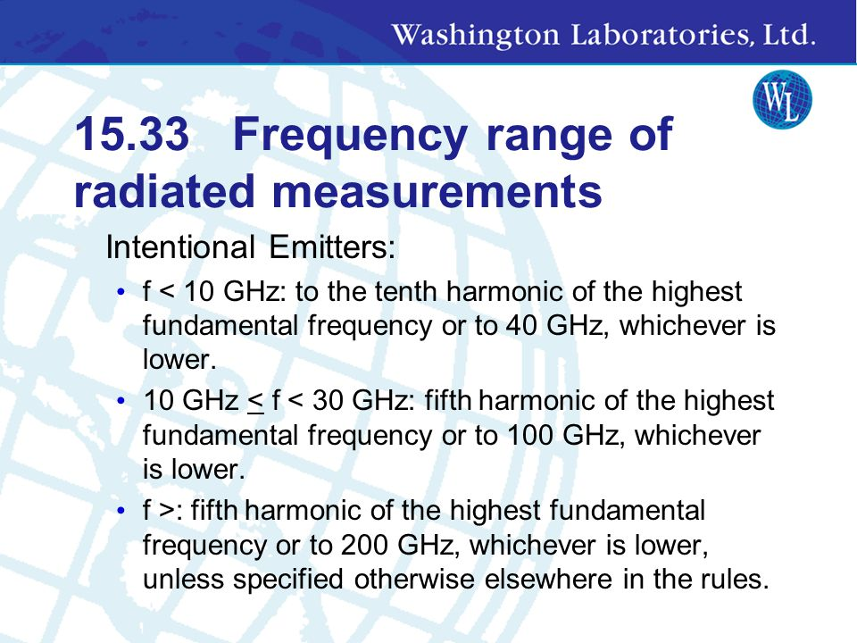 15.33 Frequency range of radiated measurements