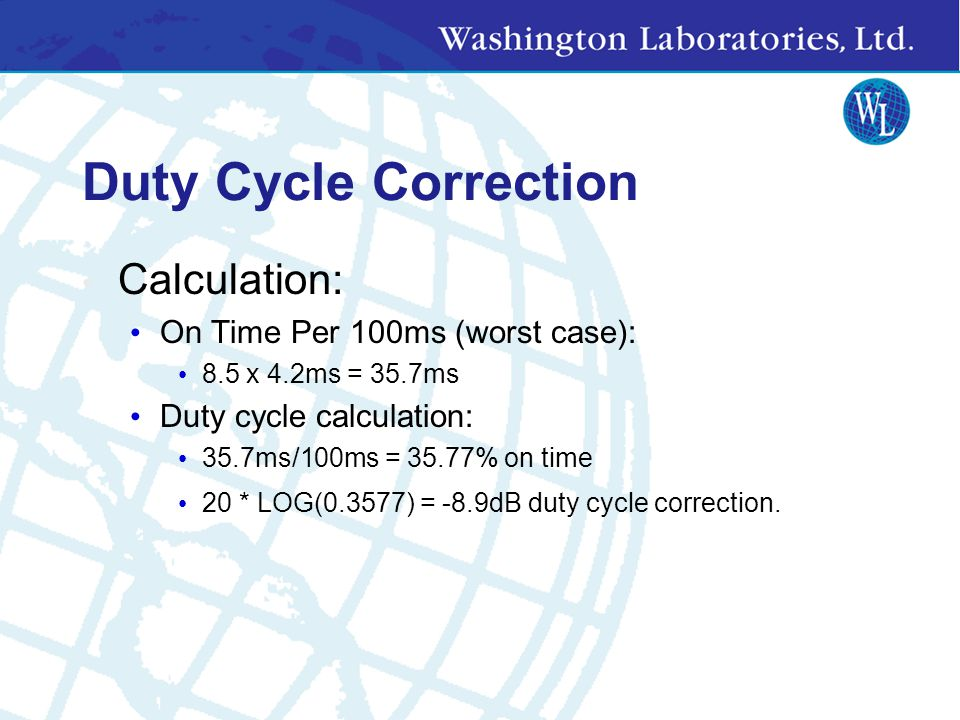 Duty Cycle Correction Calculation: On Time Per 100ms (worst case):
