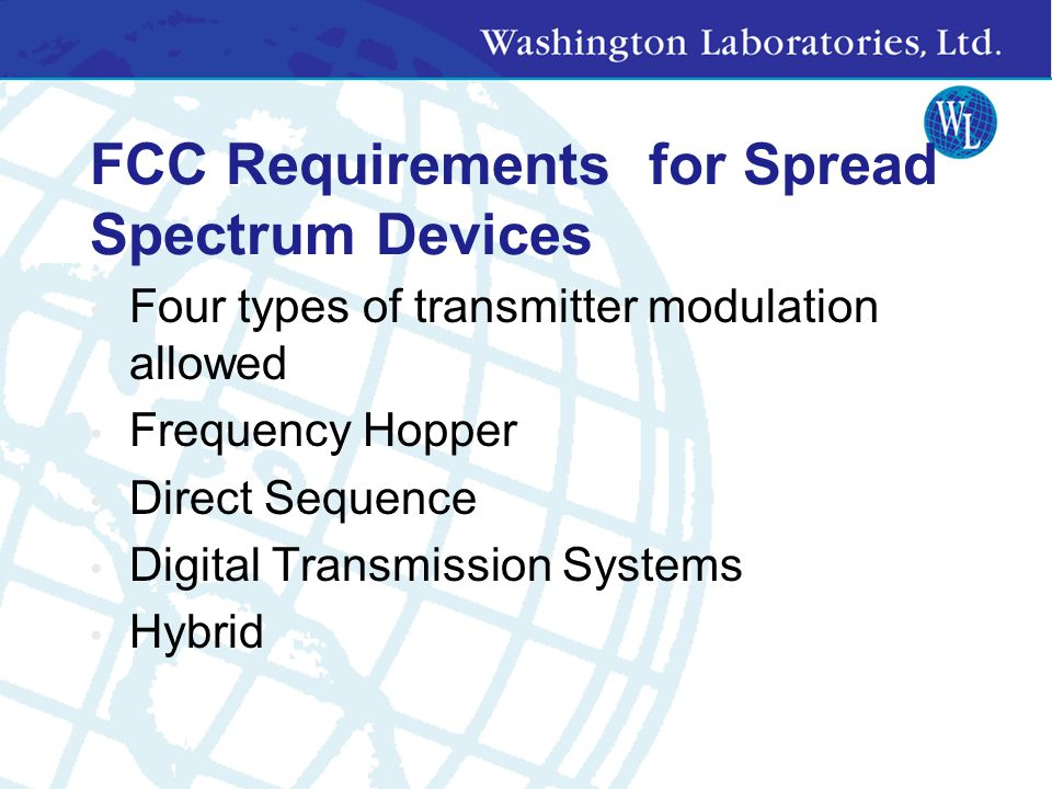 FCC Requirements for Spread Spectrum Devices