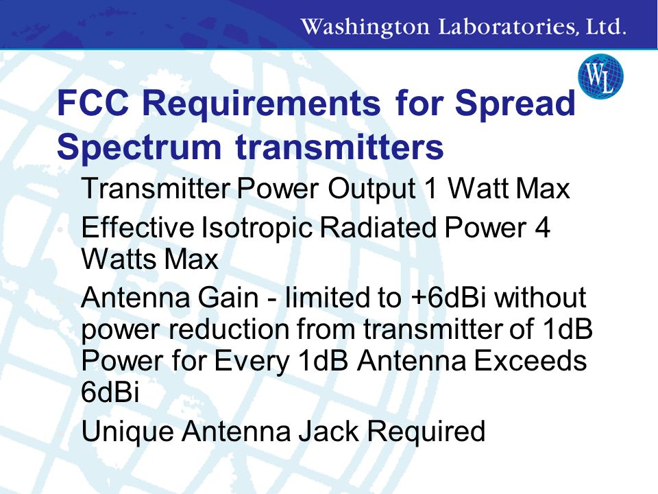 FCC Requirements for Spread Spectrum transmitters