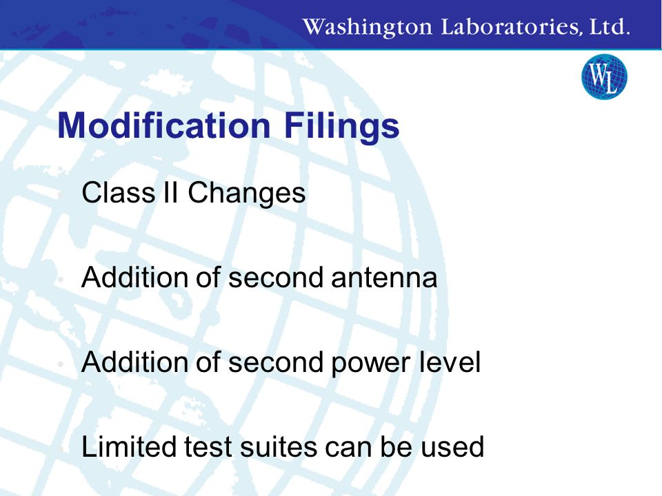 Modification Filings Class II Changes Addition of second antenna