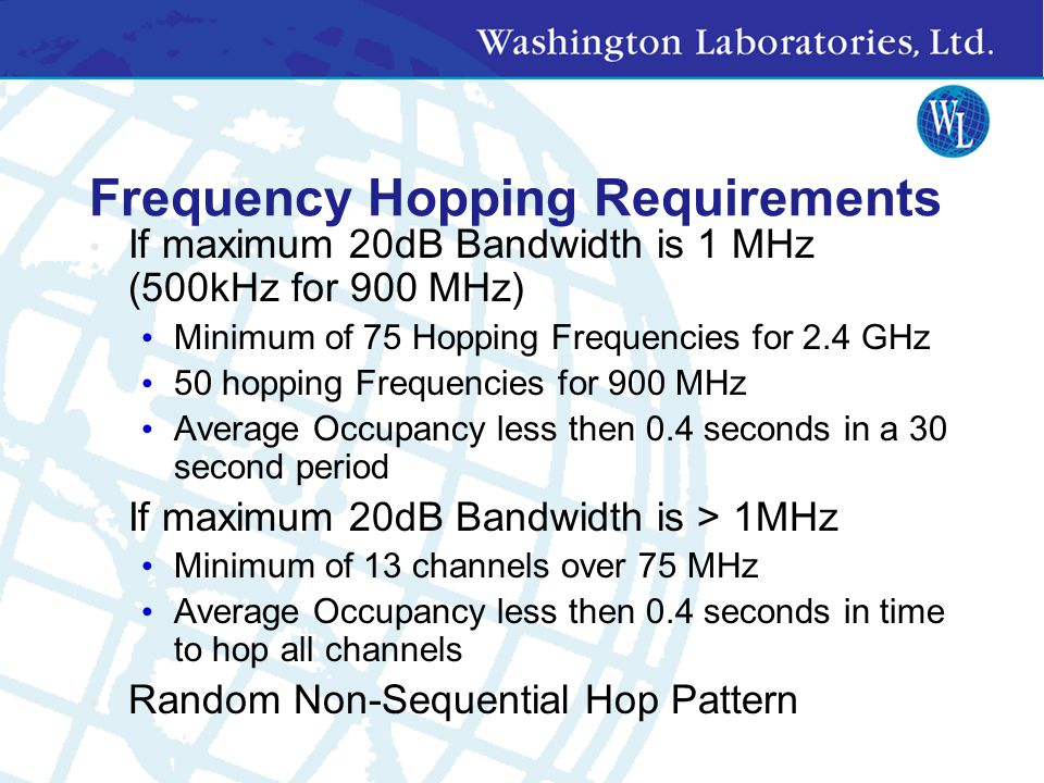 Frequency Hopping Requirements