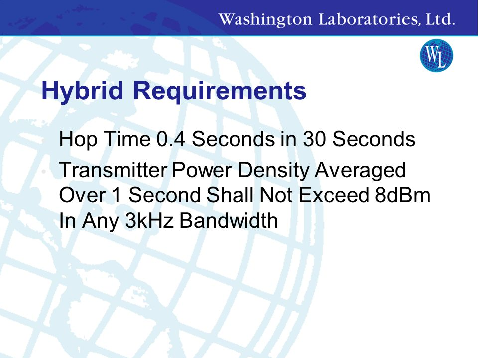 Hybrid Requirements Hop Time 0.4 Seconds in 30 Seconds