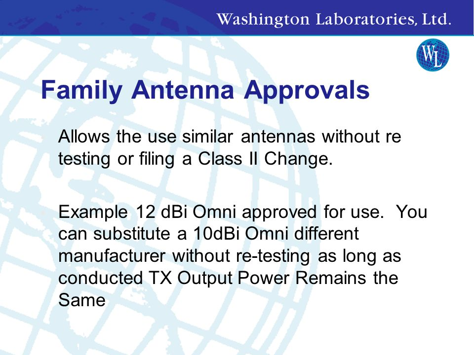 Family Antenna Approvals