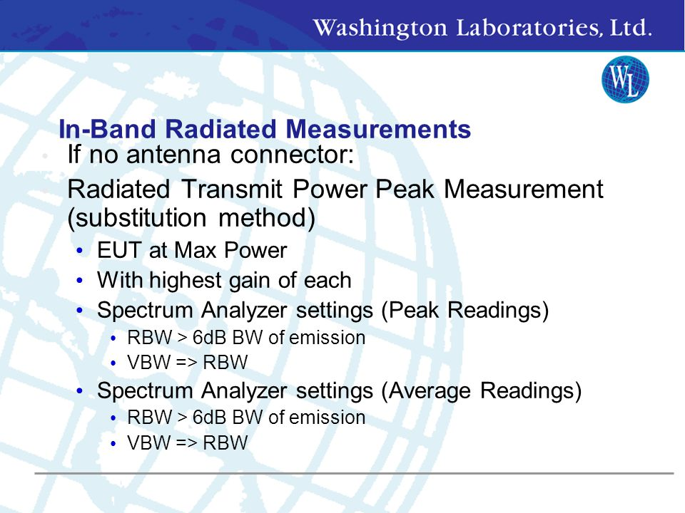 In-Band Radiated Measurements