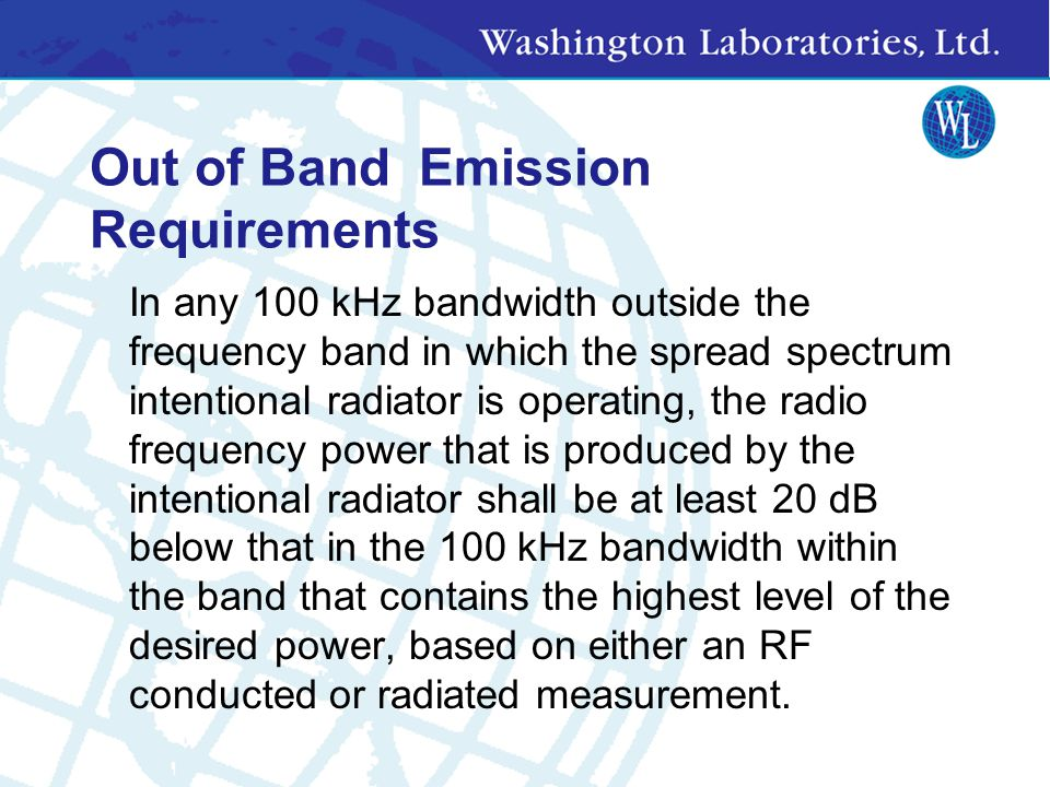 Out of Band Emission Requirements