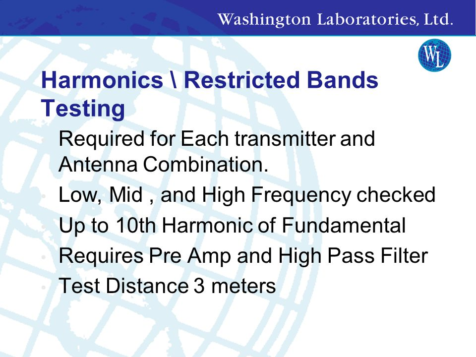 Harmonics \ Restricted Bands Testing
