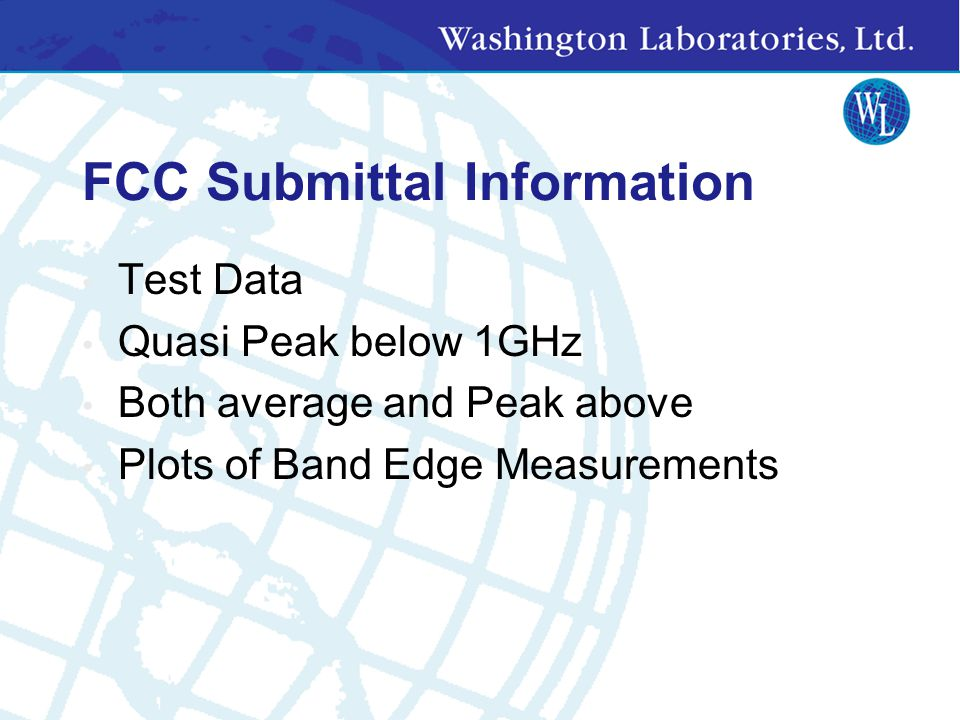 FCC Submittal Information