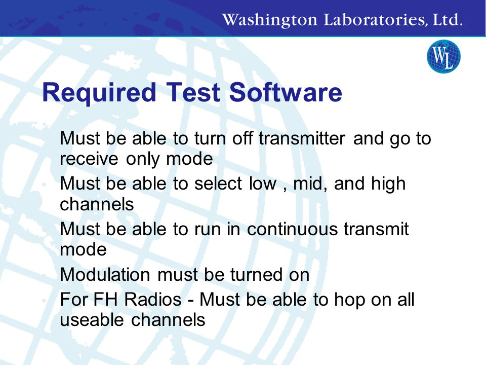 Required Test Software
