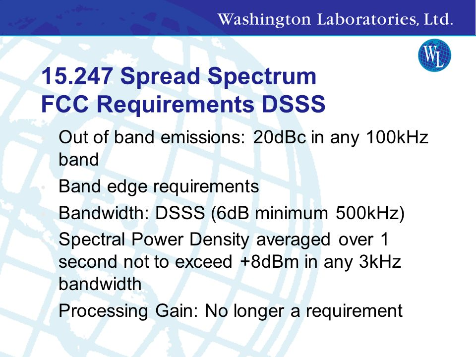 15.247 Spread Spectrum FCC Requirements DSSS