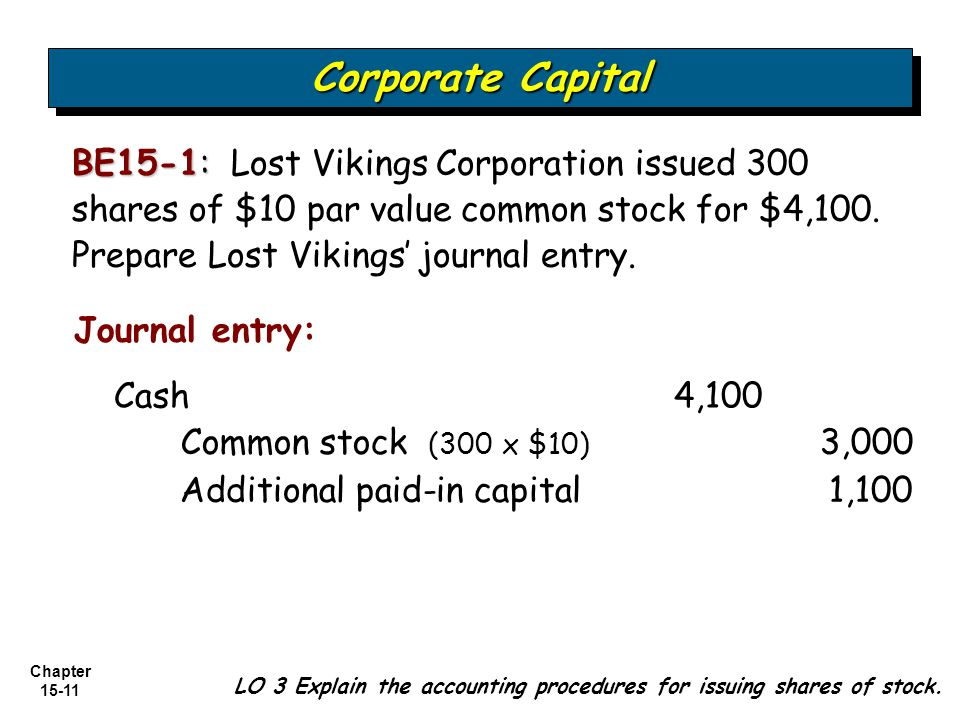 Corporate Capital BE15-1: Lost Vikings Corporation issued 300 shares of $10 par value common stock for $4,100. Prepare Lost Vikings' journal entry.