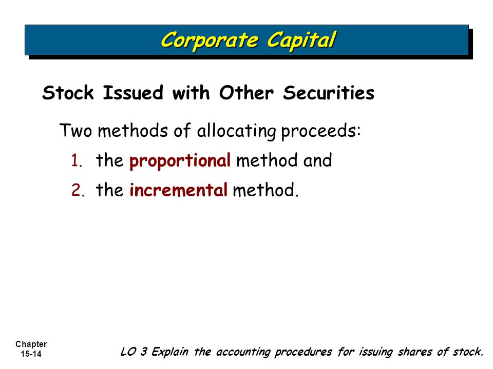 Corporate Capital Stock Issued with Other Securities
