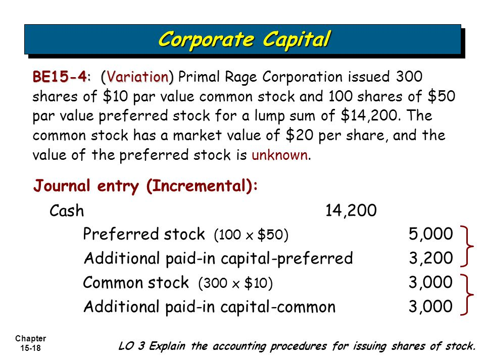 Corporate Capital Journal entry (Incremental): Cash 14,200