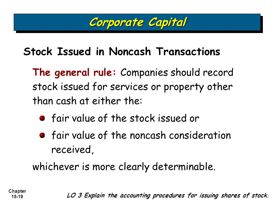 Corporate Capital Stock Issued in Noncash Transactions