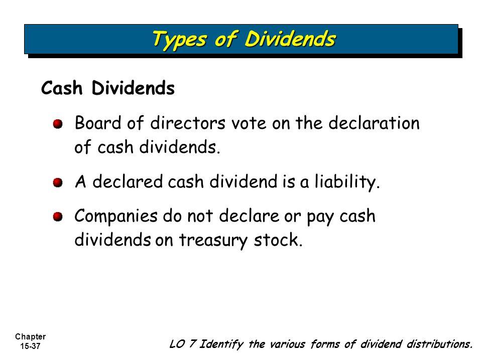 Types of Dividends Cash Dividends