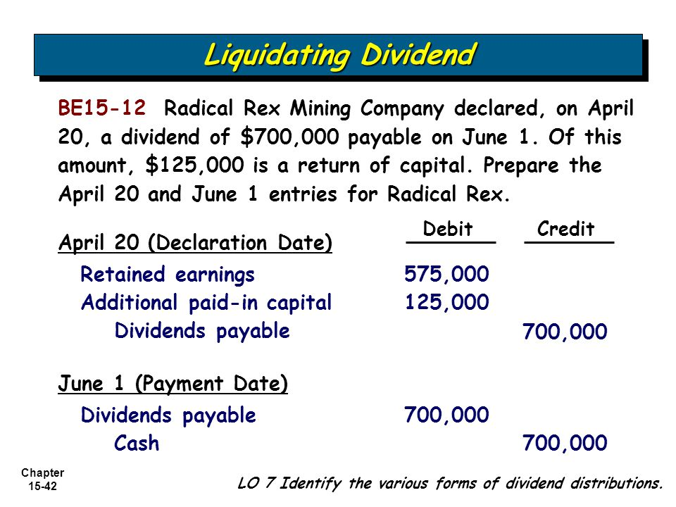 liquidating distribution A cash liquidation distribution is the amount of capital that is returned to the investor or business owner when a business is liquidated.