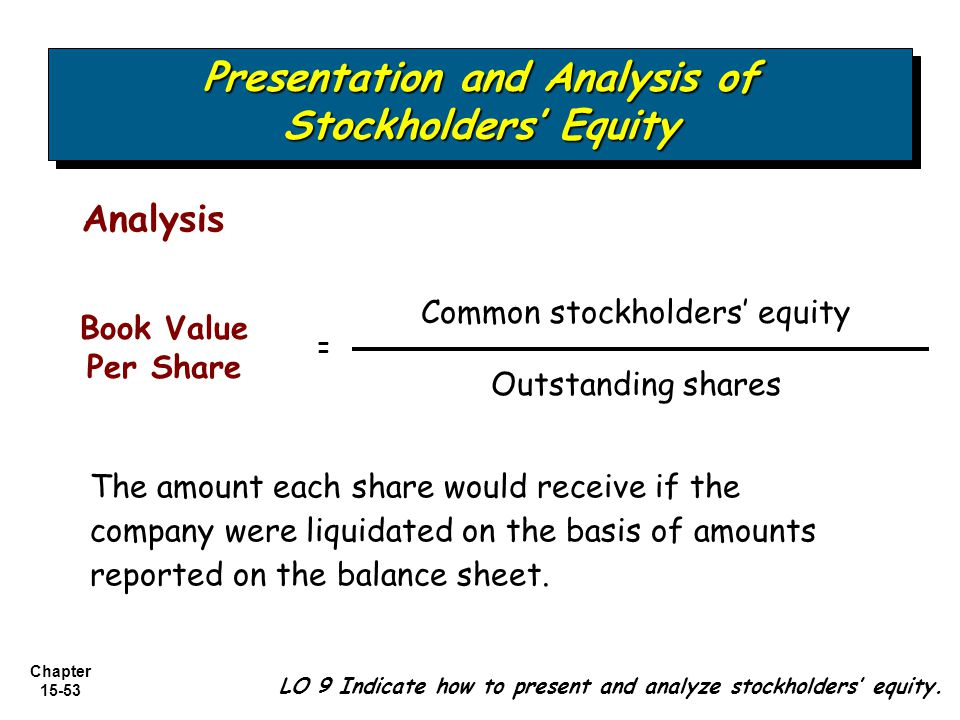 Presentation and Analysis of Stockholders' Equity