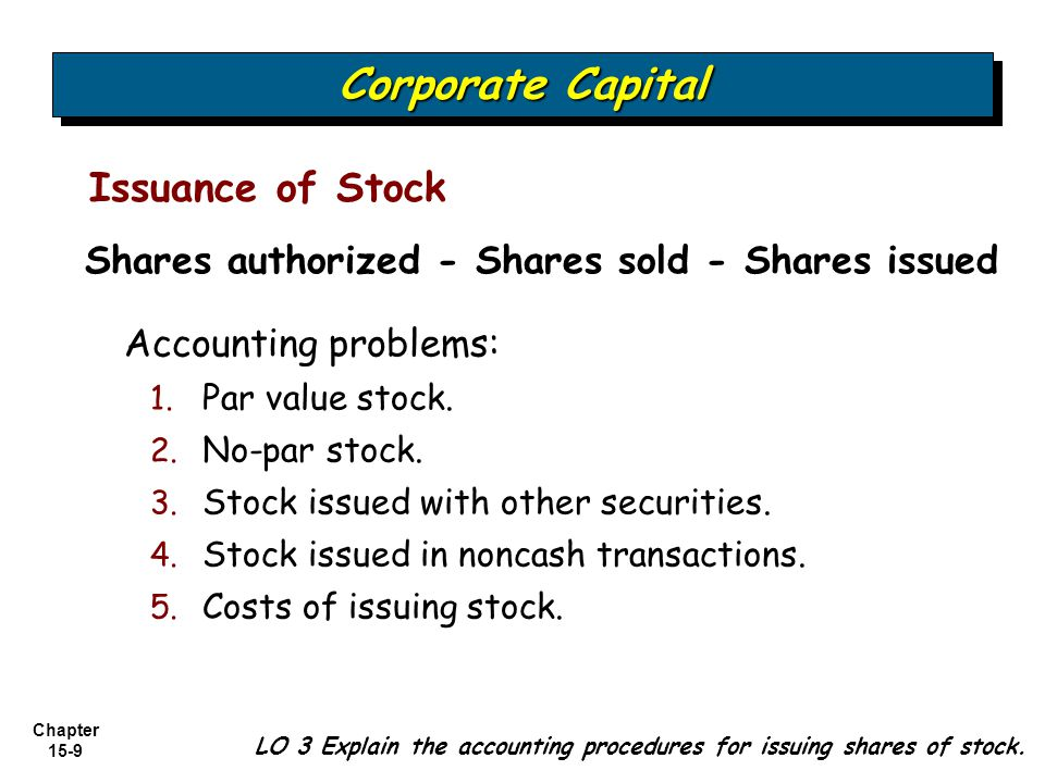 Corporate Capital Issuance of Stock