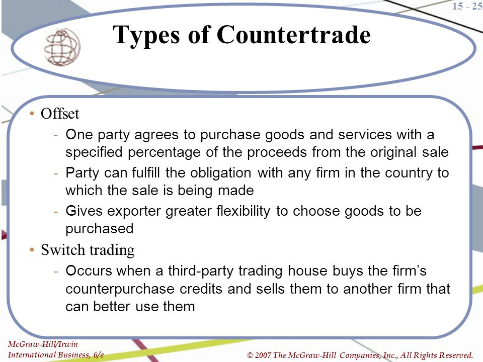 Types of Countertrade Offset Switch trading