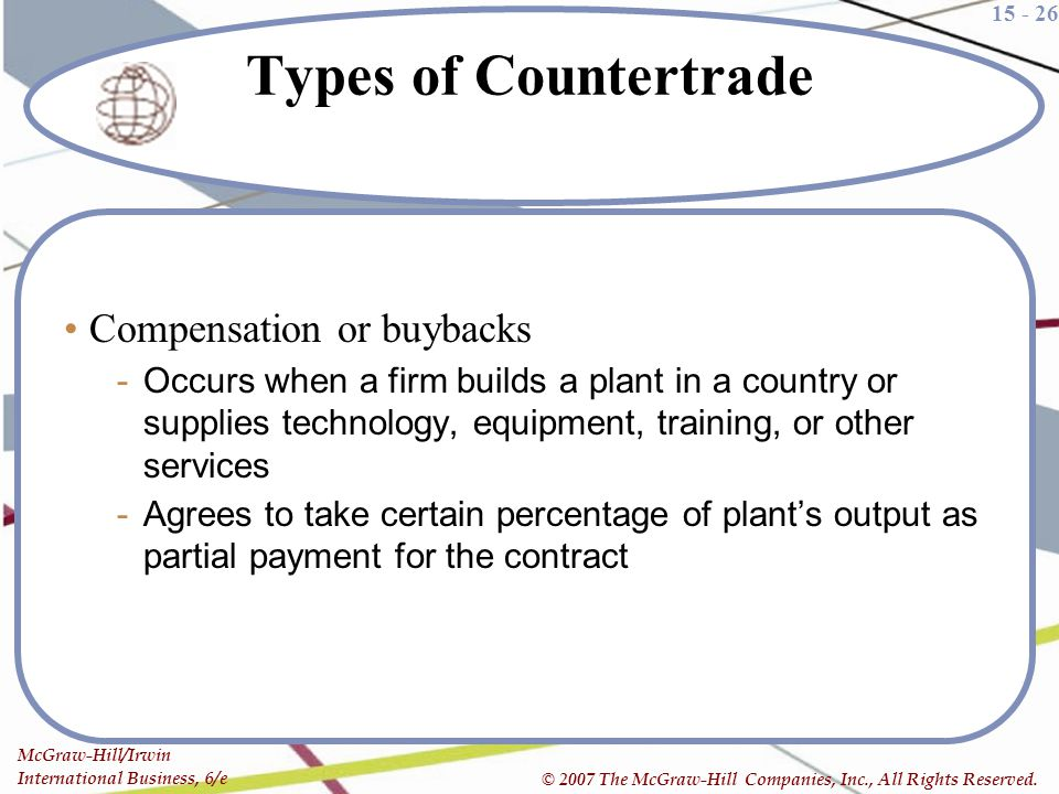 Types of Countertrade Compensation or buybacks