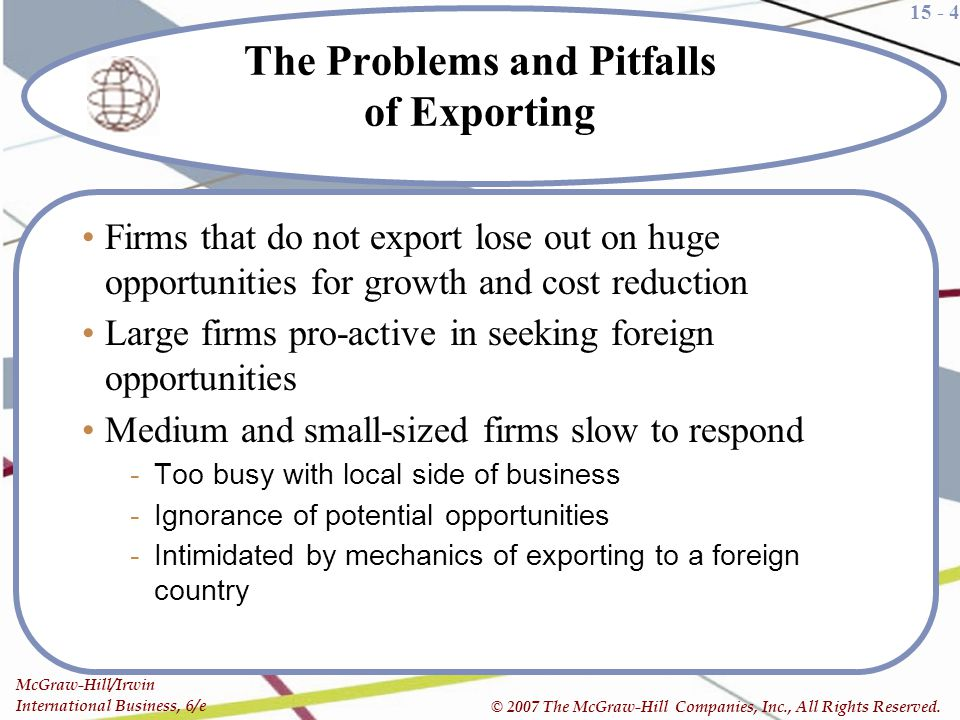 The Problems and Pitfalls of Exporting