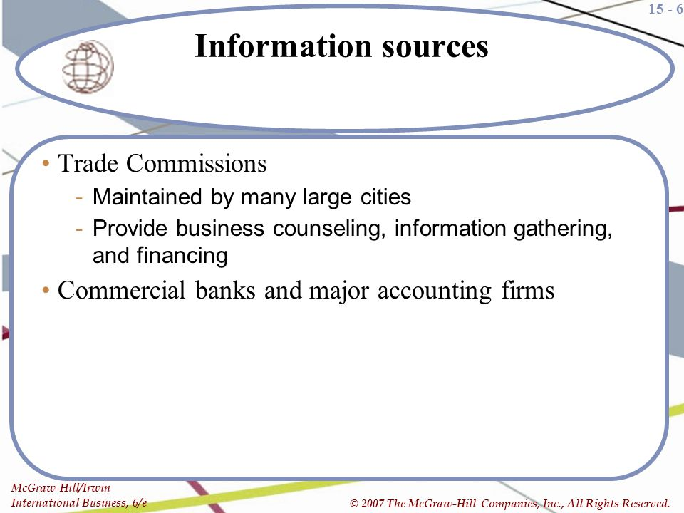 Information sources Trade Commissions