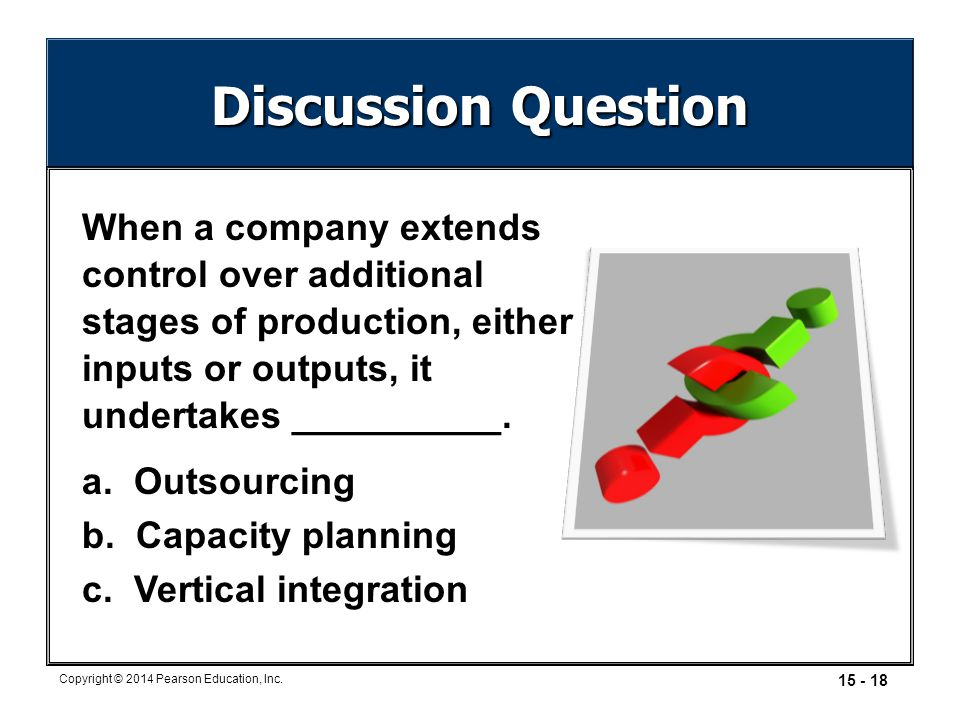 Discussion Question When a company extends control over additional stages of production, either inputs or outputs, it undertakes __________.