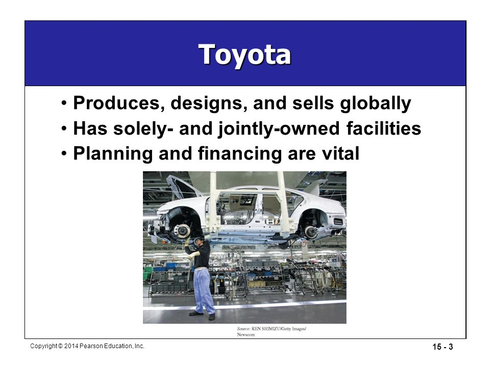 Toyota Produces, designs, and sells globally