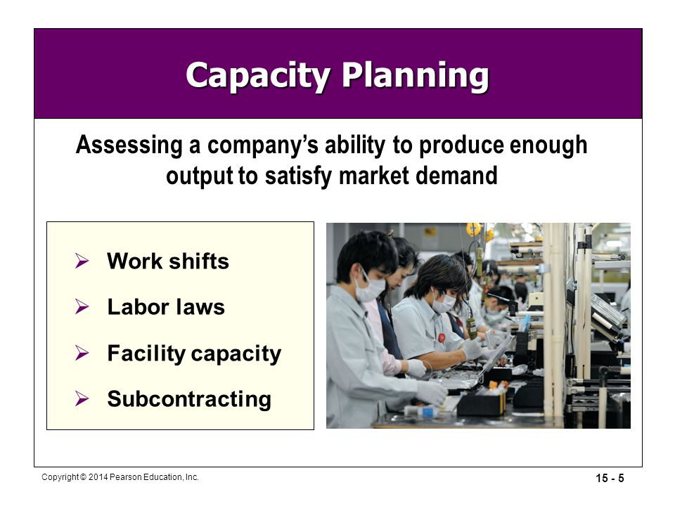 Capacity Planning Assessing a company's ability to produce enough output to satisfy market demand. Work shifts.