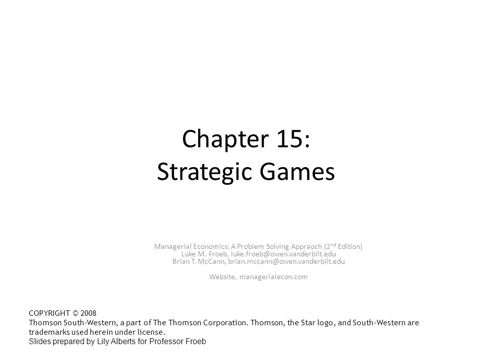Chapter 15: Strategic Games