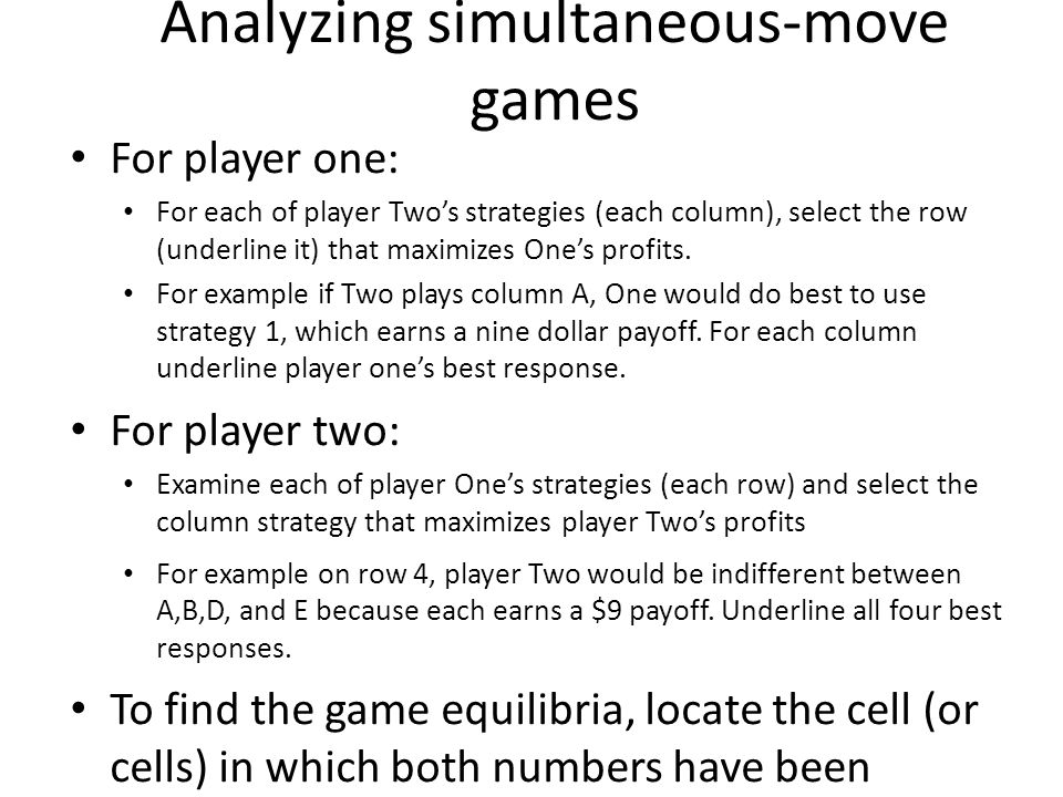 Analyzing simultaneous-move games
