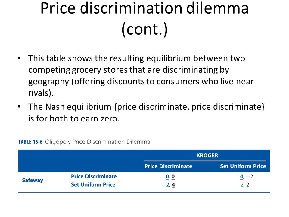 Price discrimination dilemma (cont.)