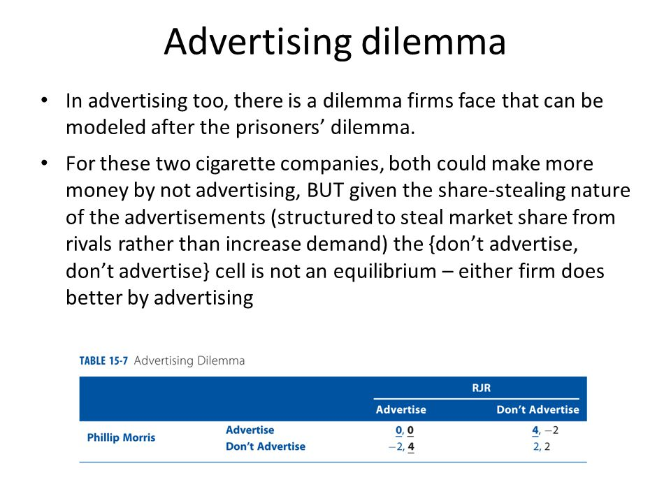 Advertising dilemma In advertising too, there is a dilemma firms face that can be modeled after the prisoners' dilemma.