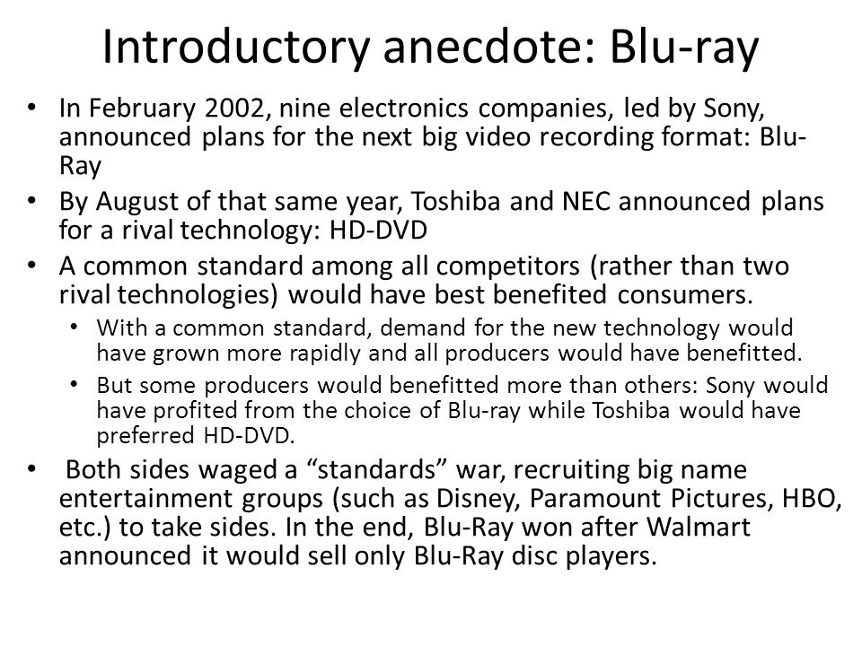 Introductory anecdote: Blu-ray