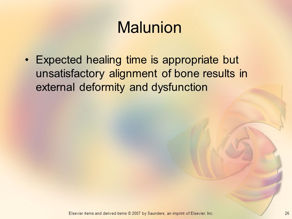 Malunion Expected healing time is appropriate but unsatisfactory alignment of bone results in external deformity and dysfunction.
