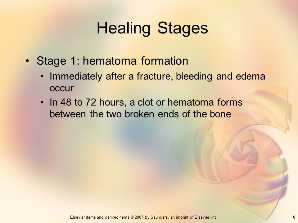 Healing Stages Stage 1: hematoma formation