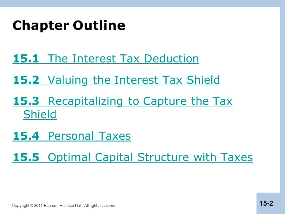 Chapter Outline 15.1 The Interest Tax Deduction